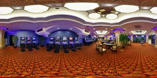 MINSK, BELARUS - JULY 26, 2014: Panorama of interier hall luxury casino, full 360 seamless panorama in equirectangular spherical. Projection, skybox VR content royalty free stock photos