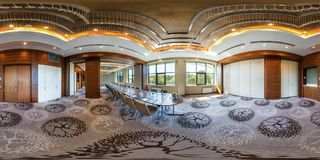 MINSK, BELARUS - JULY 27, 2017: 360 panorama view in interior of luxury empty conference hall for business meetings, full 360 stock photography