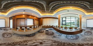 MINSK, BELARUS - JULY 27, 2017: 360 panorama view in interior of modern empty conference hall for business meetings, full 360 by royalty free stock photography