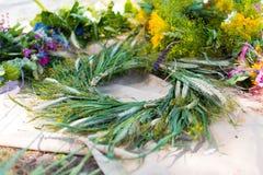 MINSK, BELARUS - July 5, 2015: Wreath of wild flowers. Slavic Belarusian holiday Ivan Kupala in Belarus. Midsummer.  Royalty Free Stock Image