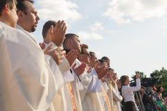 MINSK-BELARUS, JUNE, 21: Catholic Bishop praying on Minsk Cathol Stock Photography