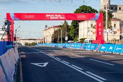 Minsk, Belarus, June 22, 2019: Finish of the distance of sports competitions in the 2ND EUROPEAN GAMES  in the city of Minsk