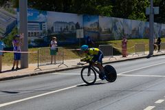 MINSK, BELARUS - JUNE 25, 2019: Cyclist from Ukraine participates in Men Split Start Individual Race at the 2nd European Games royalty free stock photography