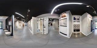 MINSK, BELARUS - JUNE 2017: full seamless panorama 360 degrees angle view in interior modern ceramic tile shop in spherical royalty free stock photo