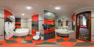 MINSK, BELARUS - JUNE, 2012: Full seamless spherical panorama 360 degrees angle view in interior bathroom in modern flat stock image