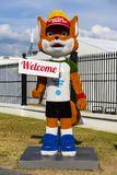 Minsk, Belarus, June 9, 2019. The growth figure of a red fox - the official mascot of the 2nd European Games - Fox Lesik stands stock photography