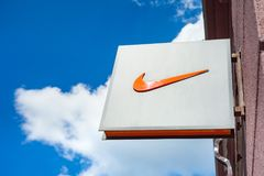Minsk, Belarus, june 16, 2017: Nike logo on a facade of a store. Stock Images