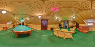 MINSK, BELARUS - JUNE 26, 2012: Panorama in interior billiard wooden hall. Full spherical 360 by 180 degrees seamless panorama in stock photos