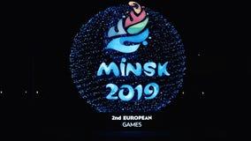 Minsk, Belarus, le 9 juin 2019 2 jeux européens Un des stades où les jeux européens seront tenus clips vidéos