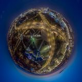 Minsk, Belarus. Little planet panorama. Drone aerial photo. The inscription on the building: `Minsk - hero city stock photos