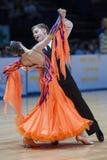 MINSK-BELARUS MAJ, 18: Det oidentifierade dansparet utför ungdom Royaltyfri Foto