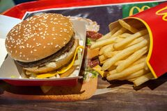 Minsk, Belarus, March 20, 2018: Big Mac and French fries in McDonald`s Restaurant. Big Mac and French fries in McDonald`s Restaurant royalty free stock image