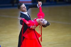 Dance Couple Performs Junior-2 Standard Program Royalty Free Stock Photography