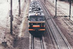 Minsk. Belarus. March 19, 2019. freight train. view from above stock photography