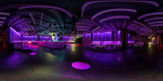 MINSK, BELARUS - MARCH 21, 2015: Full 360 panorama in equirectangular spherical projection in stylish Piime Bar stock image
