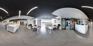 MINSK, BELARUS - MARCH, 2017: Full spherical seamless panorama 360 degrees angle view in interior of stylish modern ceramic tile royalty free stock images