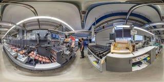 Free MINSK, BELARUS - MAY 2020: Full Seamless Hdri Panorama 360 Near Rows Of Large Offset Printing Press Of Polymer Label Conveyor Royalty Free Stock Images - 217683569