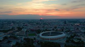 MINSK, BELARUS - MAY, 2019: Aerial drone shot view of city centre. Dinamo stadium and sports objects from above. MINSK, BELARUS - MAY, 2019: Aerial drone shot stock video footage