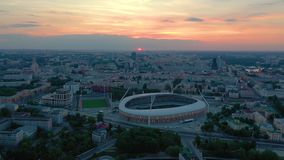 MINSK, BELARUS - MAY, 2019: Aerial drone shot view of city centre. Dinamo stadium and sports objects from above. MINSK, BELARUS - MAY, 2019: Aerial drone shot stock footage