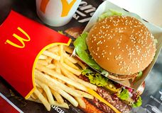 Minsk Belarus May 6 2018 Big Mac Hamburger Menu In