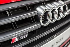 Minsk, Belarus May 2018 brand audi emblem logo sign on auto during autoexhibition on audi sq5 royalty free stock image