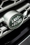 Minsk, Belarus May 2018 brand land-rover emblem logo sign on auto during autoexhibition on range rover land rover stock photo