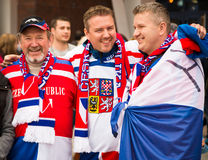 MINSK, BELARUS - MAY 11 - Czech Fans in Front of Chizhovka Arena on May 11, 2014 in Belarus. Ice Hockey Championship. Stock Photos