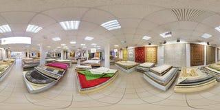 MINSK, BELARUS - MAY, 2017: Full seamless panorama 360 degrees angle view inside interior of store machine knitted handmade stock photo