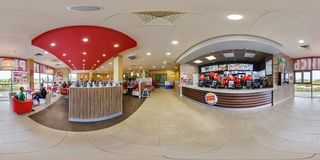 MINSK, BELARUS - MAY, 2017: full seamless panorama 360 degrees angle view in interior in modern elite fast food cafe burger king royalty free stock photos