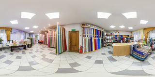MINSK, BELARUS - MAY 2018: Full spherical seamless hdri panorama 360 degrees in interior of shop with shelves fabrics of elite stock photography