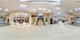 MINSK, BELARUS - MAY 2018: Full spherical seamless panorama 360 degrees in interior of shop with shelves fabrics in elite textiles royalty free stock photo