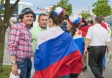 Minsk-Belarus, May, 20: Ice-Hockey Fans In Minsk having Fun Prio Royalty Free Stock Photos