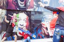 Minsk-Belarus, May, 20: Ice-Hockey Fans In Minsk having Fun Prio Royalty Free Stock Photo