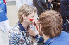 Minsk-Belarus, May, 20: Ice-Hockey Fans In Minsk Making Face-Pai Stock Photography