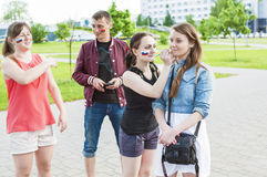 Minsk-Belarus, May, 20: Ice-Hockey Fans In Minsk Making Face-Pai Stock Images
