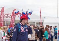 Minsk-Belarus, May, 20: Ice-Hockey Fans from Russia In Minsk Pri Royalty Free Stock Image