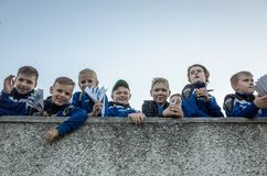 MINSK, BELARUS - MAY 23, 2018: Little fans having fun before the Belarusian Premier League football match between FC. Dynamo Minsk and FC Bate at the Tractor royalty free stock image
