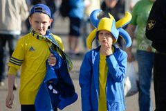 MINSK, BELARUS - MAY 23, 2018: Little fans having fun before the Belarusian Premier League football match between FC. Dynamo Minsk and FC Bate at the Tractor stock images