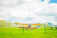 MINSK, BELARUS - MAY 01, 2018: Open air museum of old civil aviation near Minsk airport. An-2 is a Soviet biplane. Aircraft designed by the Antonov Design Stock Photos