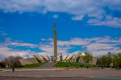 MINSK, BELARUS - MAY 01, 2018: Outdoor view of Stela, Minsk Hero city Obelisk, monument in Victory park symbol of. Victory and freedom in Belarus royalty free stock image