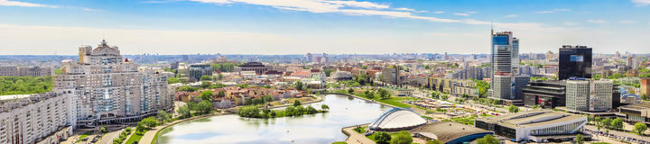 MINSK, BELARUS - May 20.2017 Panoramic view of the city from a height, Nemiga. royalty free stock image