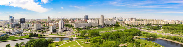 MINSK, BELARUS - May 20.2017 Panoramic view of the prospectus of the winners, Nemiga. Royalty Free Stock Images