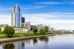 Minsk, Belarus, May 20, 2017. Royal Plaza business center and DoubleTree by Hilton Hotel Minsk on quay of Svisloch River. Minsk, Belarus, May 20, 2017. Royal Royalty Free Stock Images