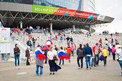 MINSK, BELARUS - MAY 9 - Russian Fans in Front of  Royalty Free Stock Photography