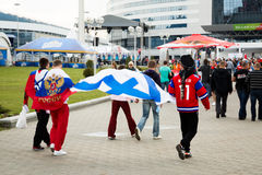 MINSK, BELARUS - MAY 9 - Russian Fans in Front of  Royalty Free Stock Images