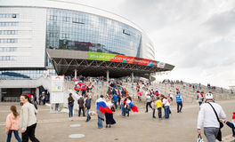 MINSK, BELARUS - MAY 9 - Russian Fans in Front of Minsk Arena on May 9, 2014 in Belarus. Ice Hockey Championship Opening. Stock Image