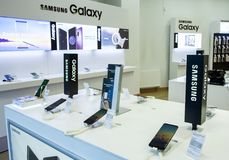 Minsk, Belarus, May 7, 2018: Showcase Samsung Galaxy with a branded store. Royalty Free Stock Photos