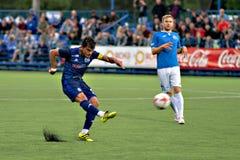 MINSK, BELARUS - MAY 14, 2018: Soccer player NOYOK ALEKSANDR kick the ball during the Belarusian Premier League football stock images