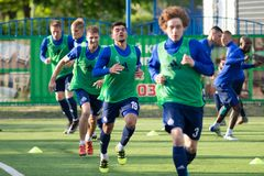 MINSK, BELARUS - MAY 14, 2018: Soccer player NOYOK ALEKSANDR training before the Belarusian Premier League football royalty free stock image