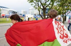 Minsk-Belarus, May, 20: Two Ice-Hockey Fans In Minsk Holding Bel Royalty Free Stock Photo